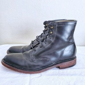 Frye James Lace Up Black Distressed Leather Boots
